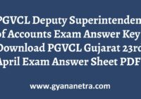 PGVCL Deputy Superintendent of Accounts Answer Key Paper PDF