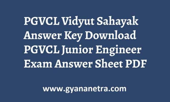 PGVCL Vidyut Sahayak Answer Key Paper PDF