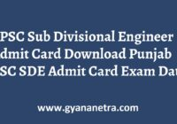 PPSC Sub Divisional Engineer Admit Card Exam Date