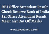RBI Office Attendant Result Merit List