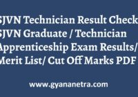 SJVN Technician Result Merit List Cut Off Marks