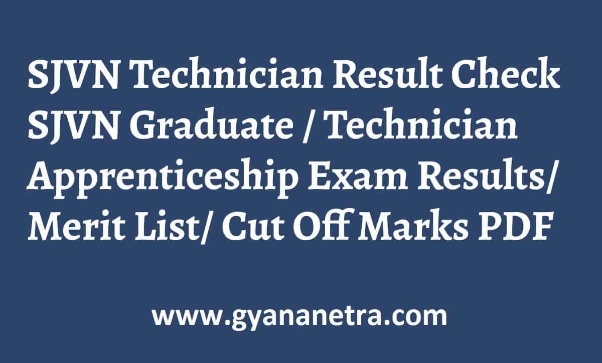 SJVN Technician Result Merit List Cut Off Marks