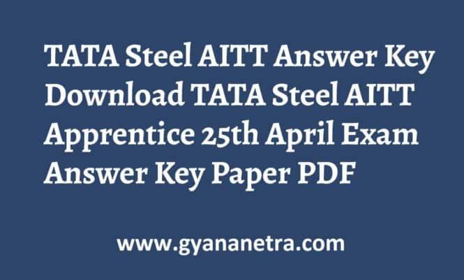 TATA Steel AITT Answer Key Paper PDF