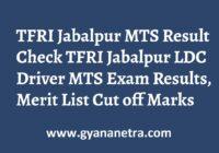 TFRI Jabalpur MTS Result Steno LDC Driver TA Merit List