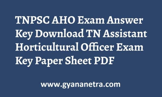TNPSC AHO Exam Answer Key Paper PDF