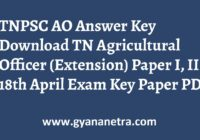 TNPSC AO Answer Key Paper I & II Exam