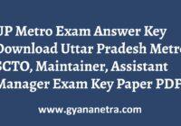 UP Metro Answer Key Paper PDF