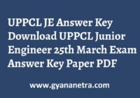 UPPCL JE Answer Key Paper PDF