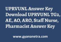 UPRVUNL Answer Key TG2, AE, AO, ARO, Staff Nurse, Pharmacist Exam