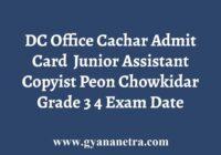 DC Office Cachar Admit Card