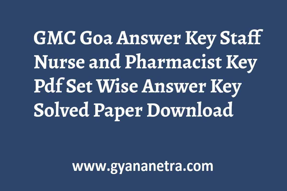 GMC Goa Answer Key PDF Download