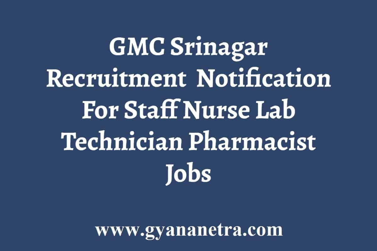 GMC Srinagar Recruitment