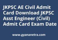 JKPSC AE Admit Card Exam Date