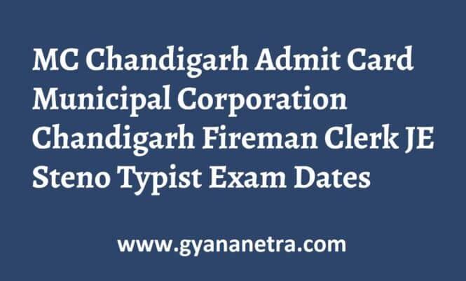 MC Chandigarh Admit Card Exam Date