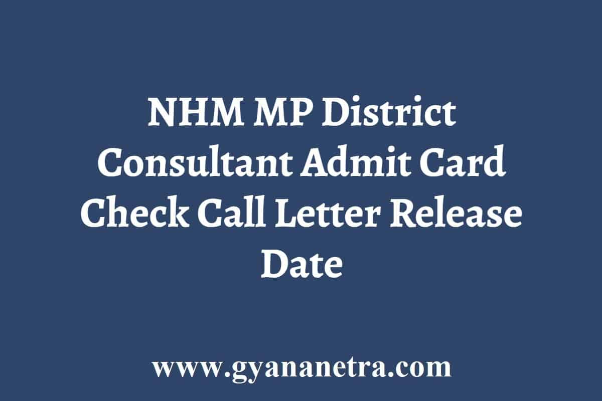 NHM MP District Consultant Admit Card