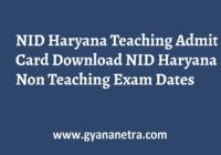 NID Haryana Teaching Admit Card Exam Date