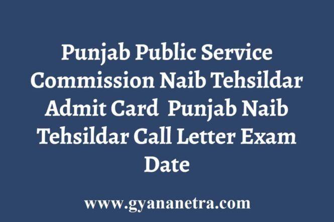 PPSC Naib Tehsildar Admit Card