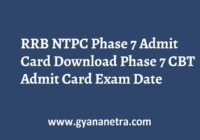RRB NTPC Phase 7 Admit Card CBT Exam Date