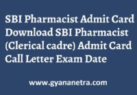 SBI Pharmacist Admit Card Clerical Cadre Exam Date