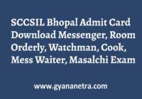 SCCSIL Bhopal Admit Card Exam Date