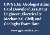 UJVNL AE Geologist Admit Card Exam Date