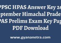 HPPSC HPAS Answer Key 26th September