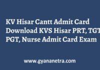 KV Hisar Cantt Admit Card PRT THT PGT Exam Date