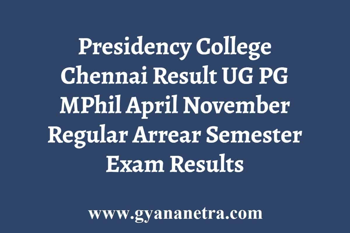 Presidency College Chennai Result