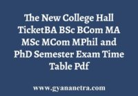The New College Hall Ticket