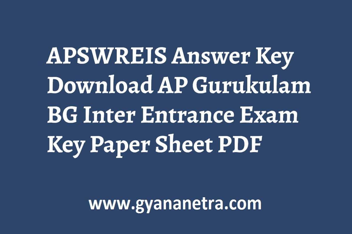 APSWREIS Answer Key Entrance Exam