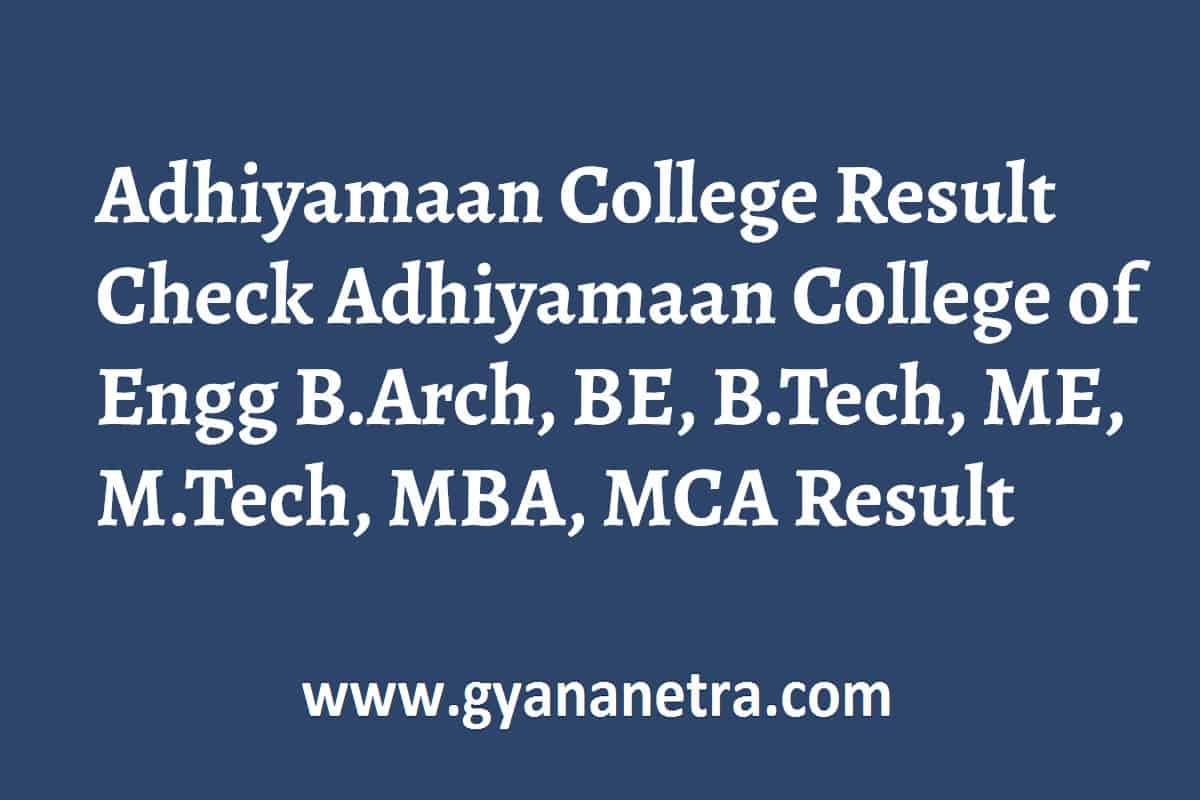 Adhiyamaan College Result UG PG Semester Exam