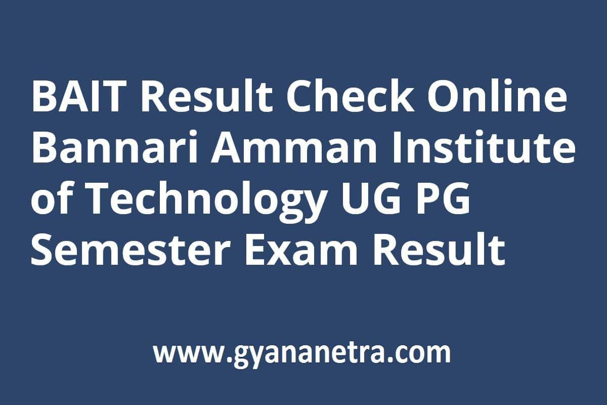 BAIT Result UG PG Semester Exam