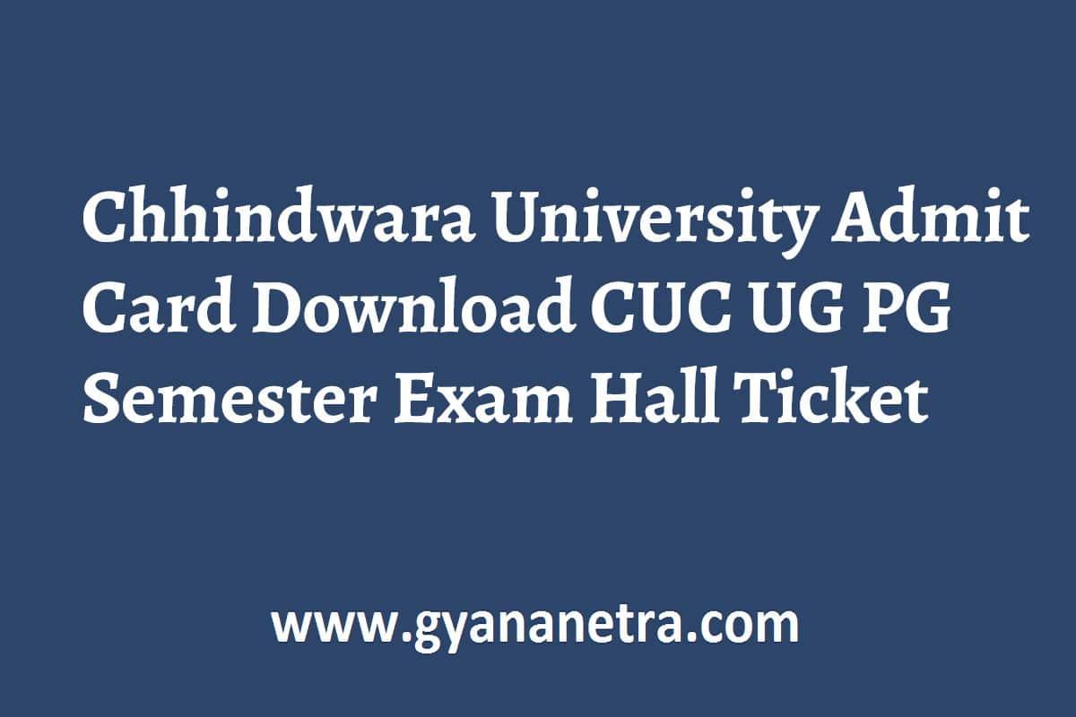 Chhindwara University Admit Card
