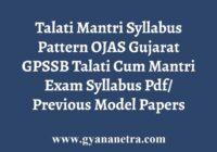 GPSSB Talati Mantri Syllabus Pattern