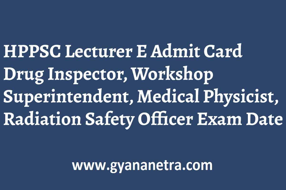 HPPSC Lecturer Admit Card Exam Date