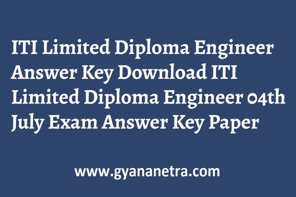 ITI Limited Diploma Engineer Answer Key