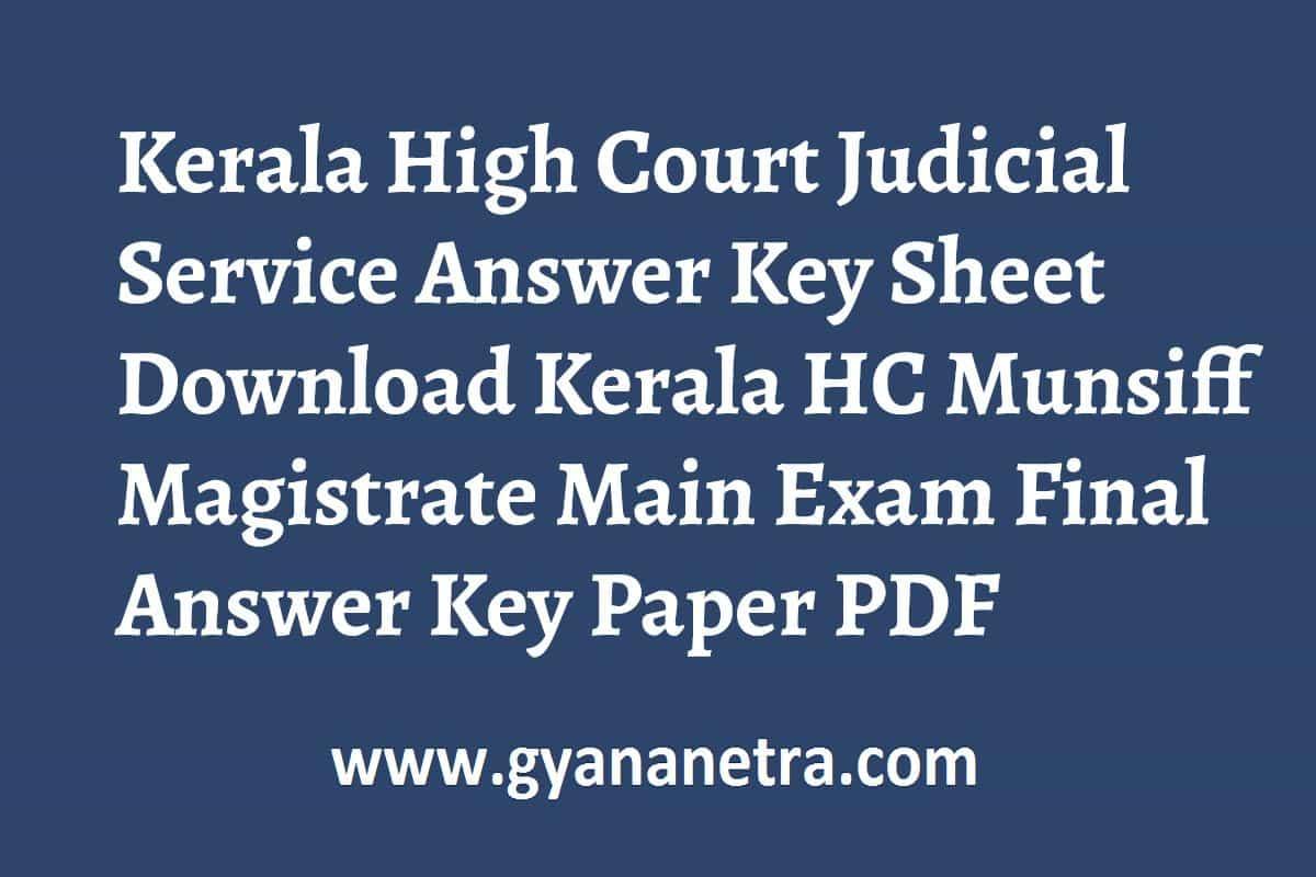 Kerala High Court Judicial Service Answer Key
