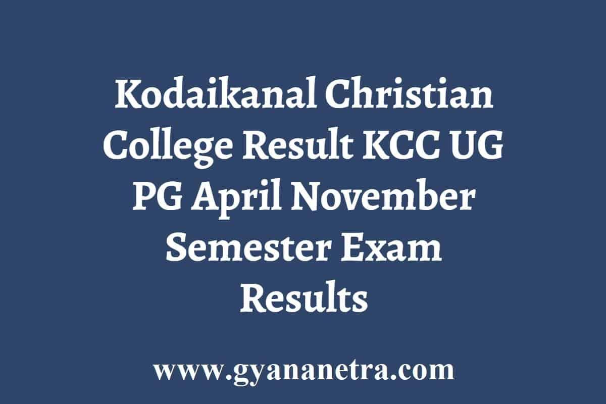 Kodaikanal Christian College Result
