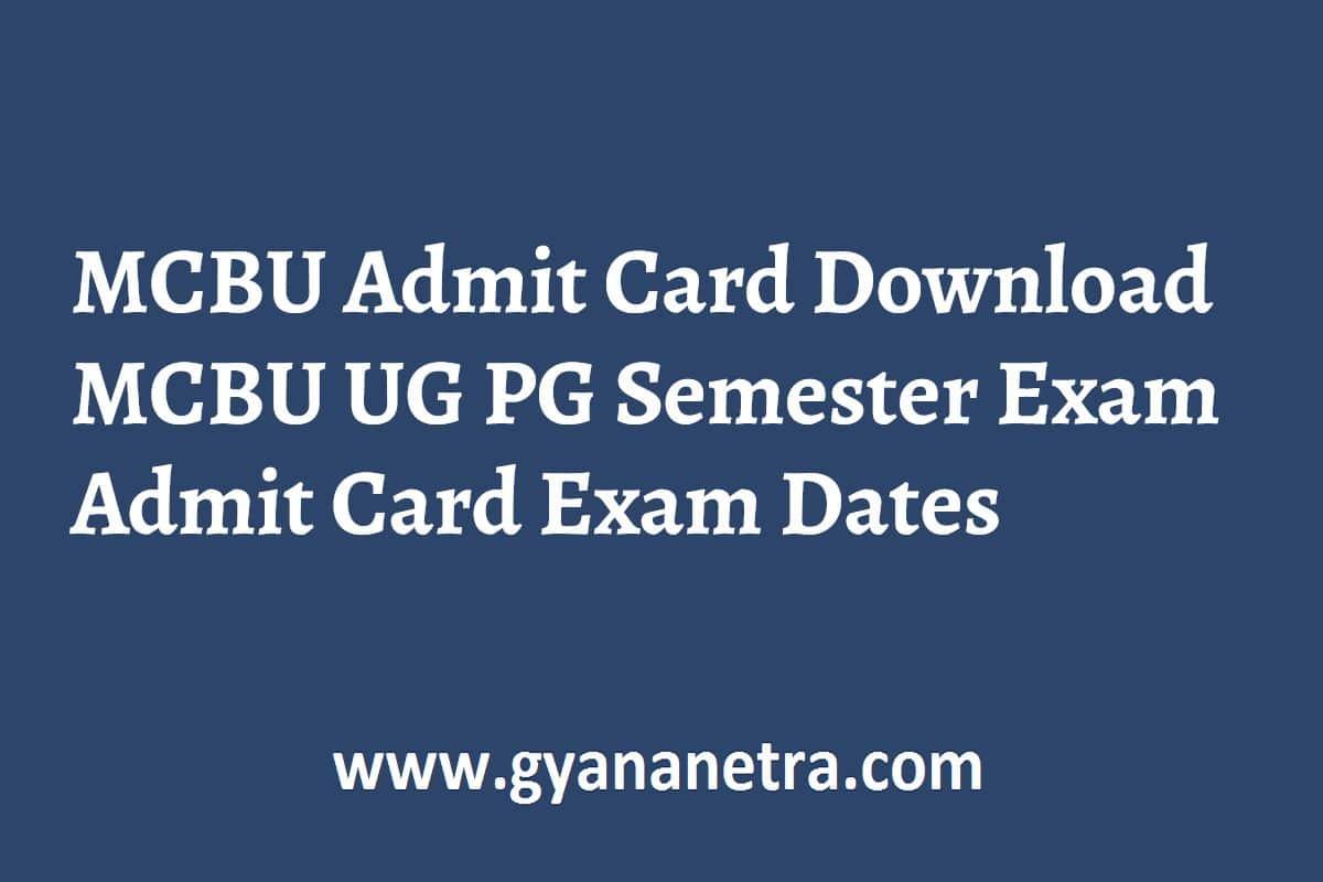 MCBU Admit Card Semester Exam