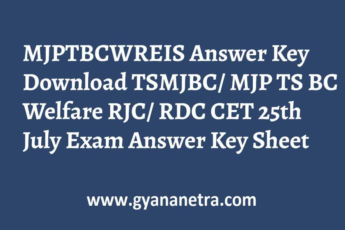 MJPTBCWREIS Answer Key Paper PDF