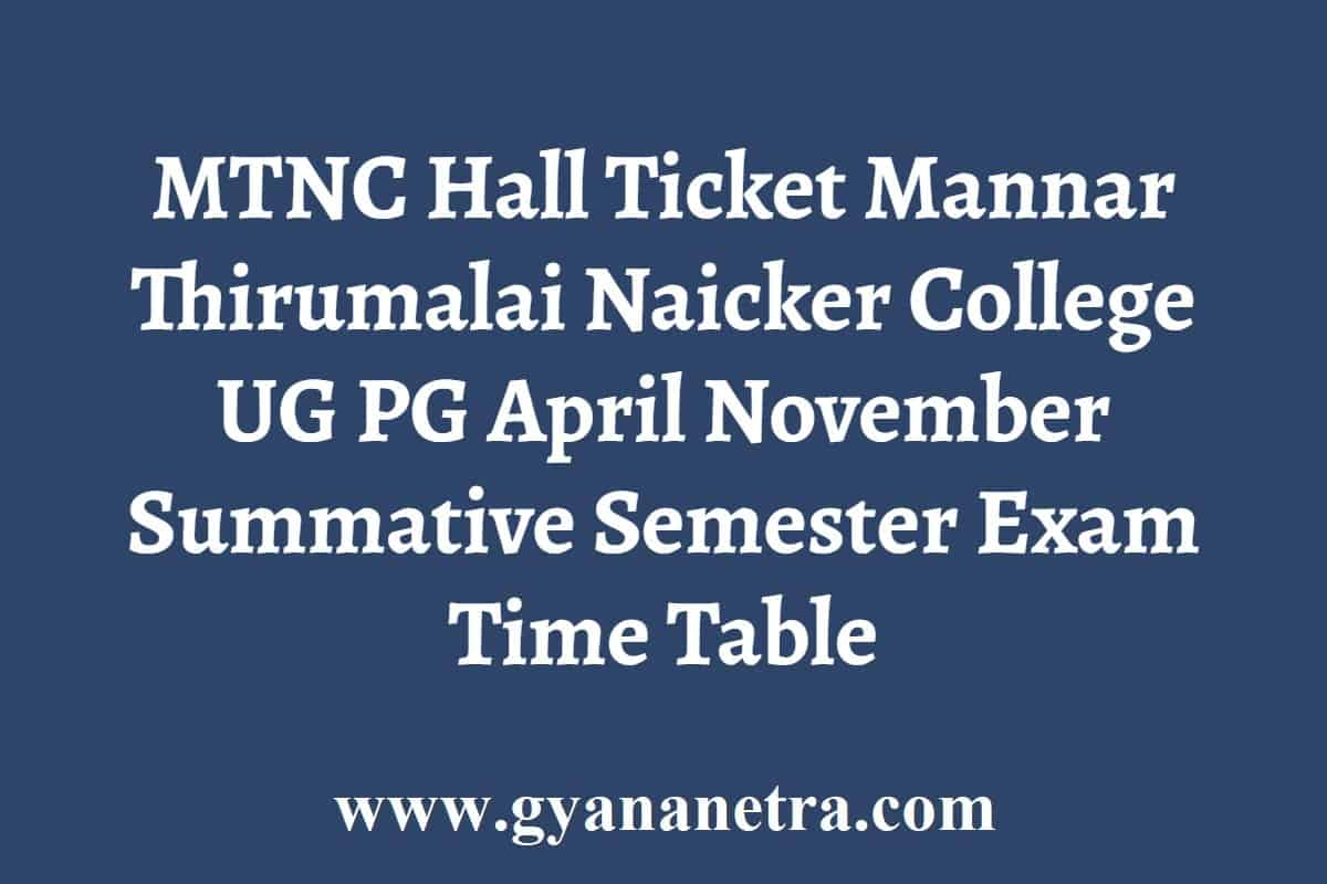 MTNC Hall Ticket