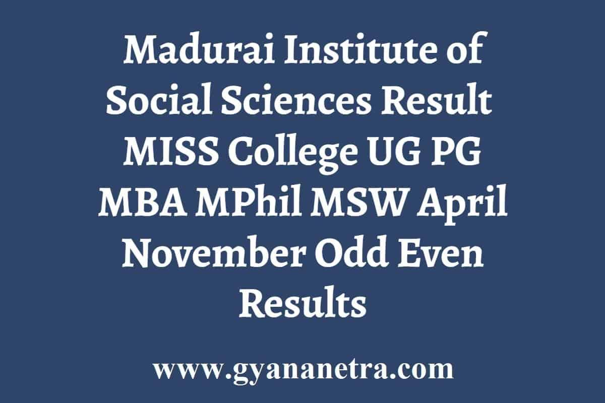 Madurai Institute of Social Sciences Result