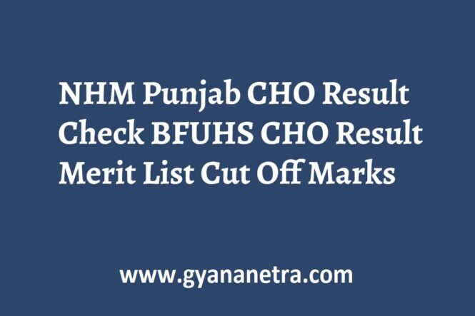 NHM Punjab CHO Result Merit List