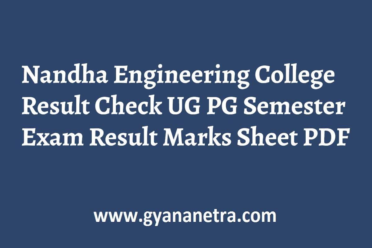 Nandha Engineering College Result Check Online