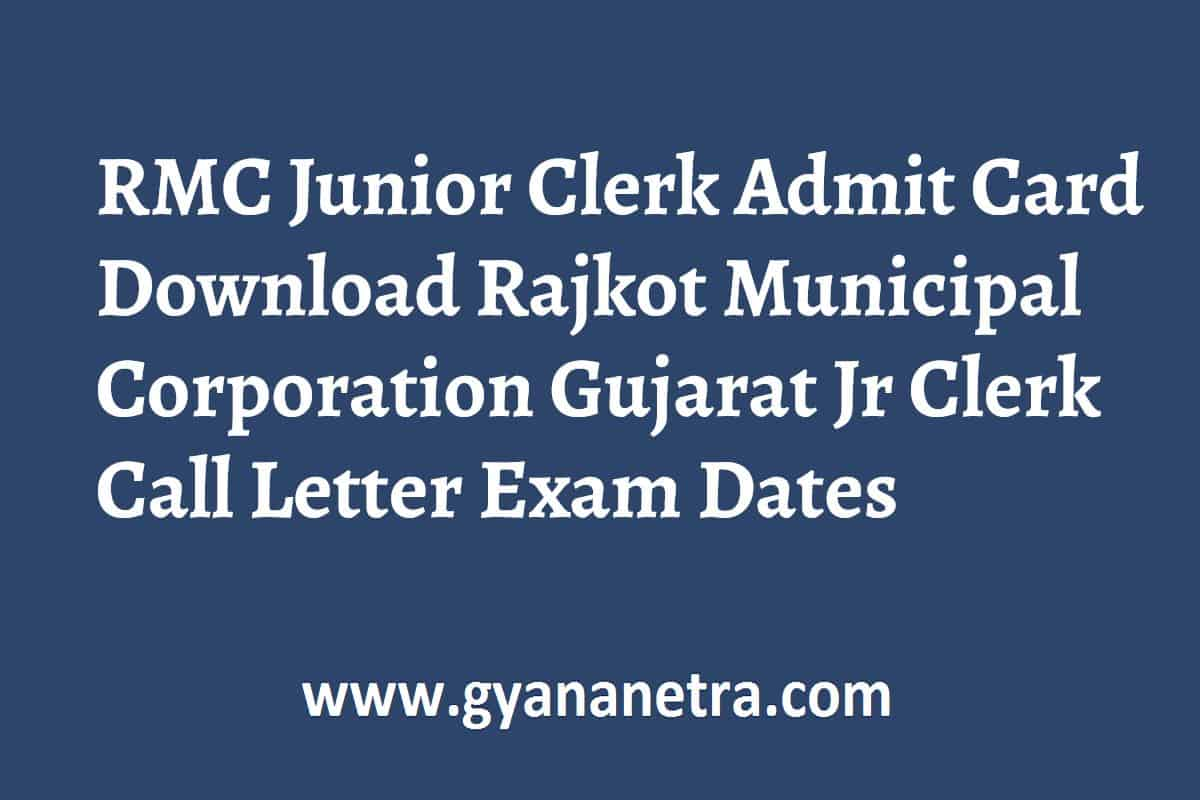 RMC Junior Clerk Admit Card Call Letter