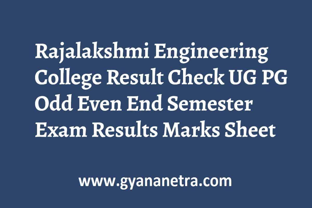 Rajalakshmi Engineering College Result