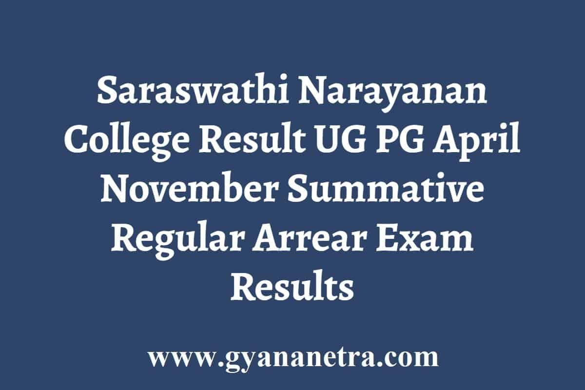 Saraswathi Narayanan College Result
