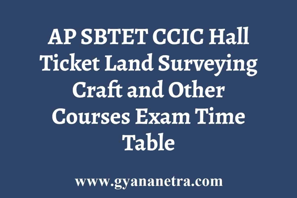 AP SBTET CCIC Hall Ticket