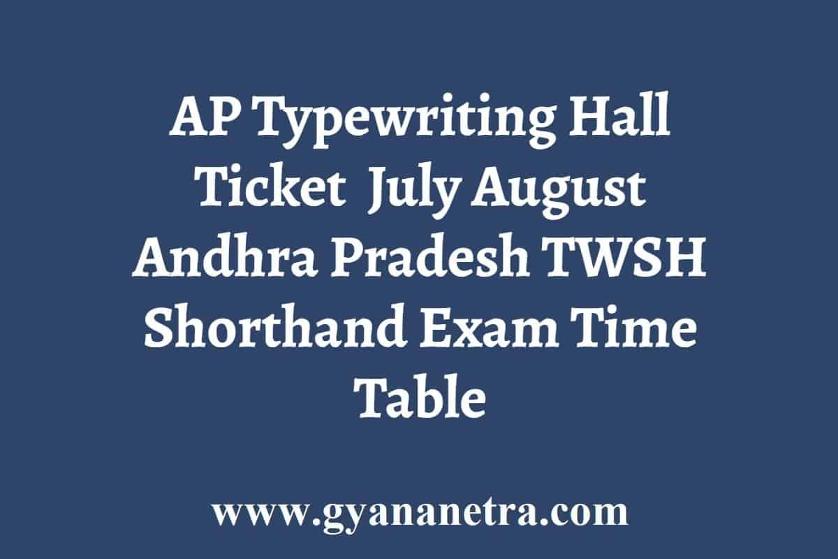 AP Typewriting Hall Ticket