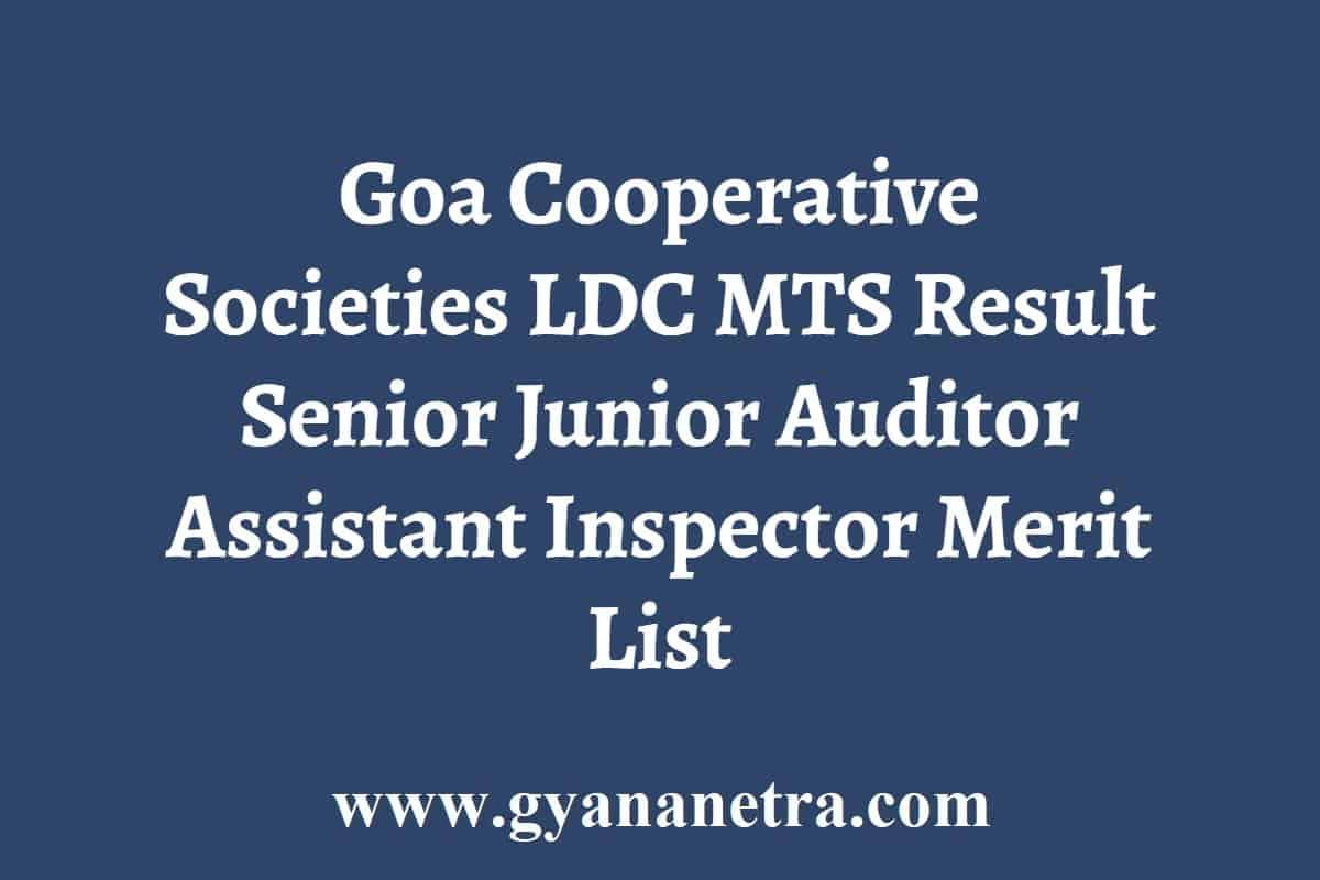 Goa Cooperative Societies LDC MTS Result